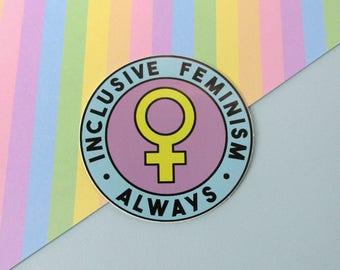 Inclusive Feminism Always Sticker • Pastel Round Feminist Resist