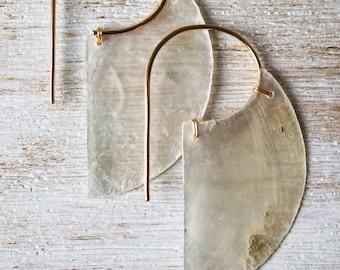 Vividance Crescent Capiz Shell & Wire Earrings