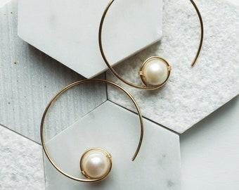 Cyclos Wire & Pearl Hoop Earrings