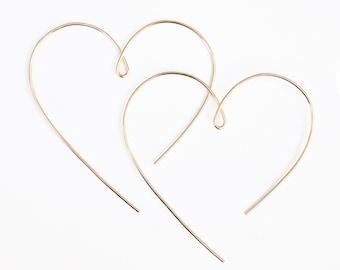 Amorette Open Heart Hoop Earrings
