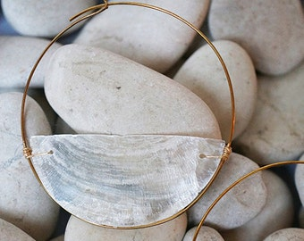 Sonorous Capiz Shell Large Hoops