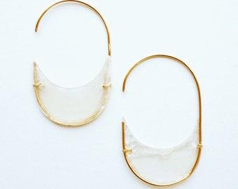 Fia Oval Capiz Shell & Wire Earrings