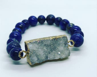 Druzy and lapis beaded bracelet