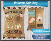 Boho Dream Catcher Happy Birthday chip bag Label , DIGITAL FILE, Instant Download or customized 24 to 48 hours with name