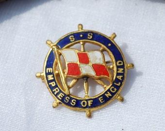 Vintage Enameled Empress Of England 1960's Lapel Pin Ship's Wheel