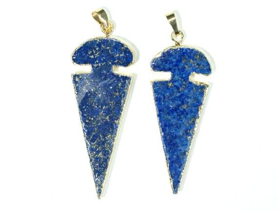 Natural Blue Arrow Head Shape Lapis Lazuli Gold Pendant Arrowhead Lapis Pendant