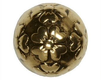 Metalized Beads Round Flower Antique Gold Coated Plastic Beads 18mm - 4 Beads Per Pack