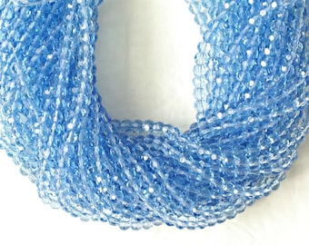 Blue Crystal Beads, 6mm Faceted Round Cut Glass Beads, 13 inches Strand with 57 beads