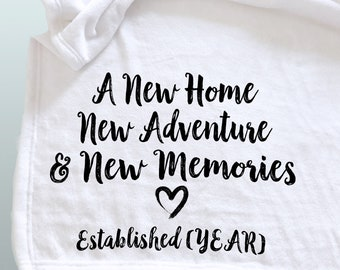 A custom personalized throw blanket for a housewarming, wedding gift, new home gift, new adventure, word blanket, photo blanket