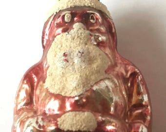 Vintage Hot Pink Mica Glass Santa Christmas Ornament