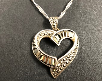 Vintage Sterling Silver and Marcasite Heart Shaped Pendant Necklace