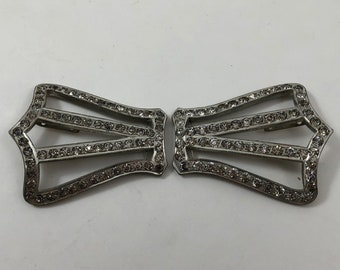 Beautiful Large Victorian Silver Tone Metal and Paste Stones Crown Shaped Belt Buckle or Shoe Ornaments