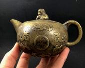 Antique Asian Chinese Brass Single Cup Teapot Tea Pot