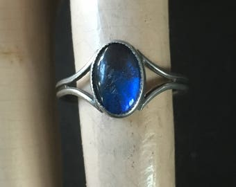 Antique Silver Blue Morpho Butterfly Wing Ring
