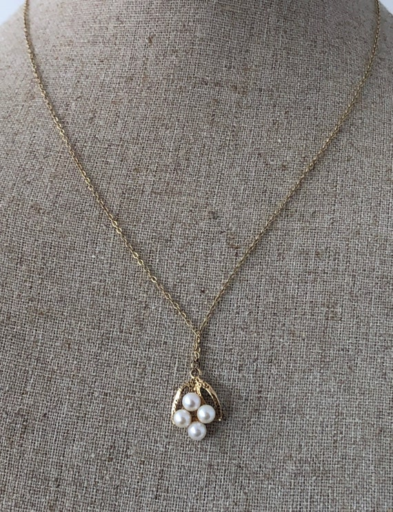 9K Solid Yellow Gold British Vintage Solid Pearl /& Ruby Necklace