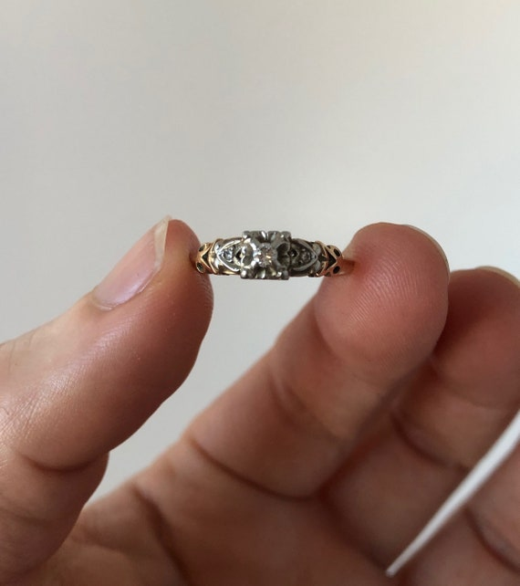 Vintage 1940s 14K and 18K White and Yellow Gold Di