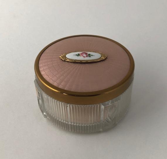 Vintage Antique 1920s Pink Guilloche Enamel Glass