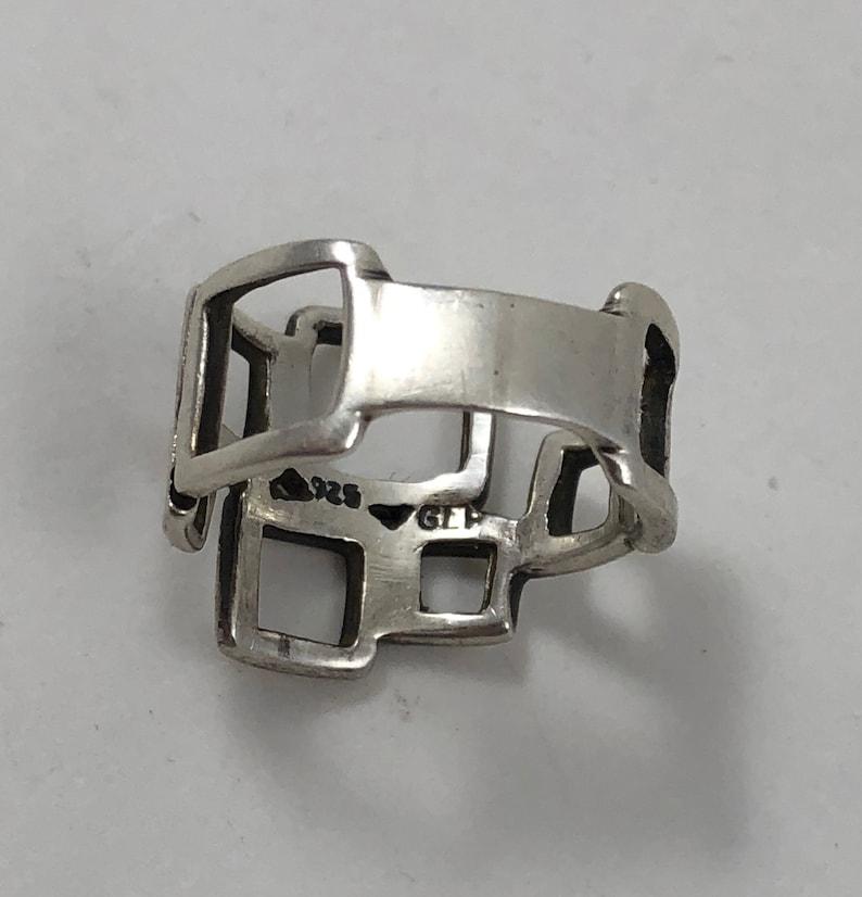 Vintage Sterling Silver Modernist Squares Ladies Statement Ring