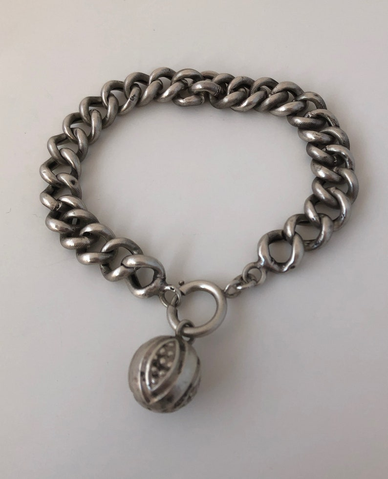 Antique Victorian French Silver Patterned Chain Link Bracelet with Charm Fob