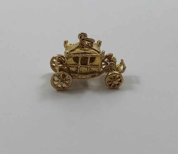 Vintage 10K Yellow Gold Coach or Carriage Charm fo