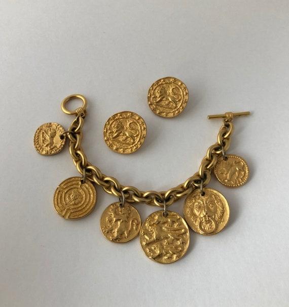 Vintage Anne Klein Gold Plated Byzantine Lion Anci