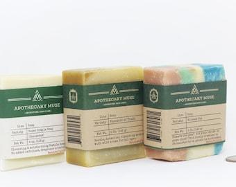 Soap Set: 3 pack - Artisan Soap, Herbal Soap, Vegan, Palm Free, SLS Free, Gift Set, Zero Waste Bundle - 3 bars of soap!
