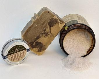 Gift Set -Adventure Spa - Soap, Massage, Bath Salt - Sensuous Aroma, Functional, Gift for Her, Zero Waste - Vegan