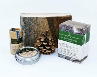 Woodsy Warrior Bundle - Poison Ivy & Oak/Insect Repellent Soap, Sunstick and Salve - Gift for Mountain Biker, Vegan, Zero Waste