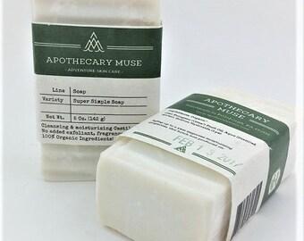 Soap - Super Simple Soap - Organic Olive Oil, Castile, Sensitive Skin, NO added aroma, color or exfoliants, Minimalist, Gift for Baby - 5 oz