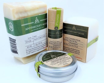 Gift Set - Gentle Care: Soap, Lip Balm, Salve, Stain Stick - Unscented or Light Aroma, Green Circle, Zero Waste, Gift for New baby - Vegan