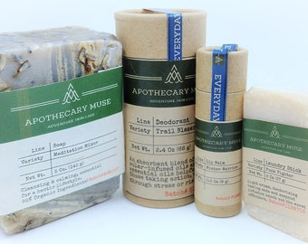 Gift Set - Everyday Care: Soap, Deodorant, Lip Balm, Stain Stick - Lavender Lover, Gift for Best Friend, Blue Square, Zero Waste - Vegan