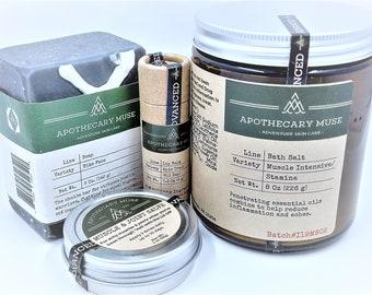 Gift Set - Advanced Care: Soap, Lip Balm, Skin Salve - Deep Aroma, Adventure Skincare, Functional, Gift for Athlete, Zero Waste- Vegan