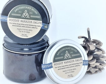 Skin Salve  - Woodsy Warrior Aromatherapy Blend - Poison Ivy/Poison Oak/Sumac, Bug Bites, Plantain, Clay, Minty, Gift for Hiker - 1 or 2 oz