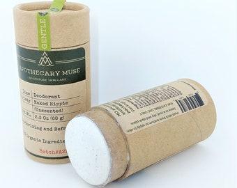 Deodorant - Naked Hippie - Unscented, Zero Waste, 12 hr formula, Aluminum Free, Paraben Free, Vegan Natural - 2.3 oz