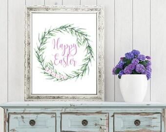 Easter Printable Digital Wall Art - Happy Easter