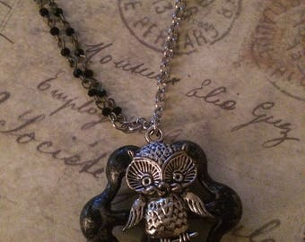 Necklace - Owl on a facuet
