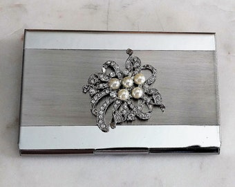 Business Card Holder.  Stainless Steel.  Lady.