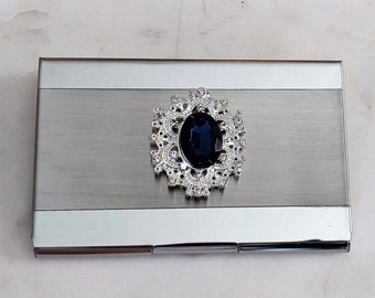 Business Card Holder.  Stainless Steel.  Chantilly Blue.