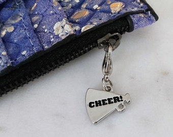 Cell Phone Charm; Zipper Pull.  Cheering Megaphone.  Silver with Lobster Clasp.