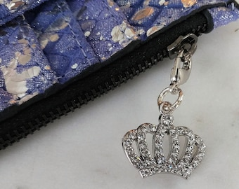 Cell Phone Charm; Zipper Pull.  Silver Crown with Rhinestones with Lobster Clasp.