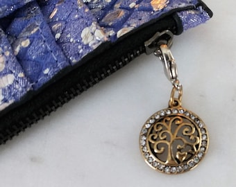 Cell Phone Charm; Zipper Pull.  Golden Tree of Life.  Gold with Lobster Clasp.