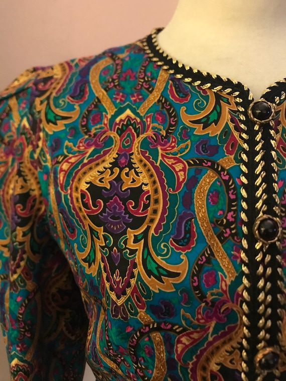 Maggy London paisley silk jacket