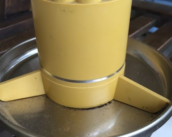 70s Office Mustard Yellow pencil holder/ caddy