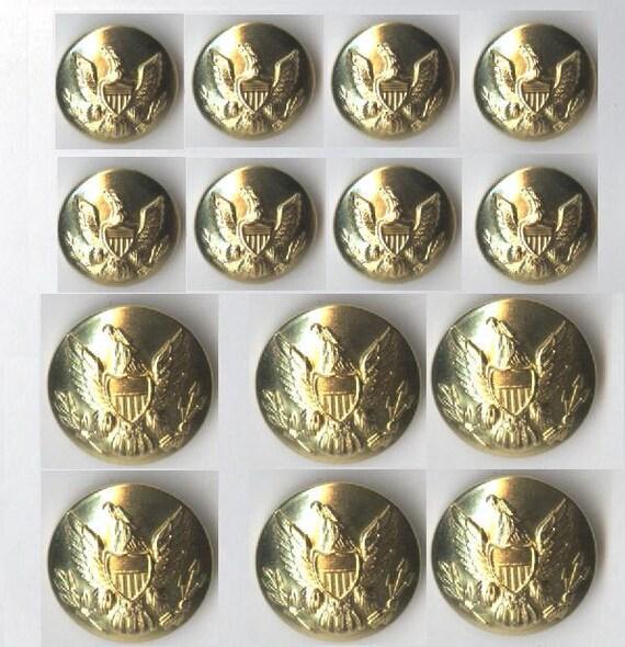 1 Set of Gold Brass Metal Buttons Reenactment Civil War Dress Union Eagle New