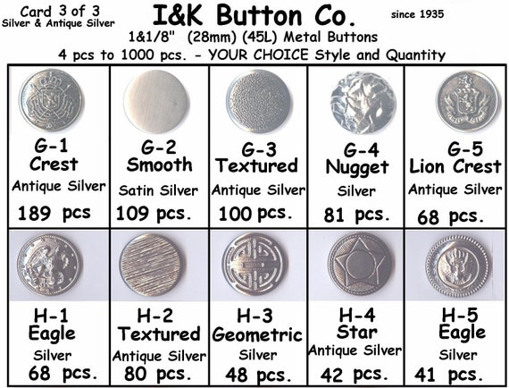 "Buttons-Costumes-CHOICE 22mm Antique Silver or Gold Metal 7//8/"" 8 to 1000 pcs"
