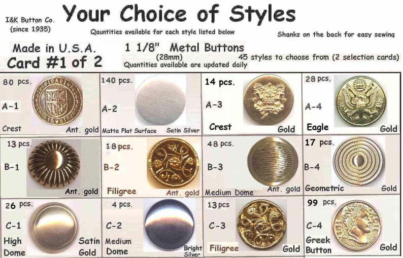 8 Metal 1 18 Buttons Silver Antique Pirate Gold 28mm Medieval Clothing Renaissance Faire Halloween Costumes School Plays-Your Choice