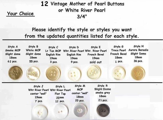 18 Akoya  1  Shell Mother of Pearl Buttons 40L Agoya custom orders available for the exact quantity you need 25mm