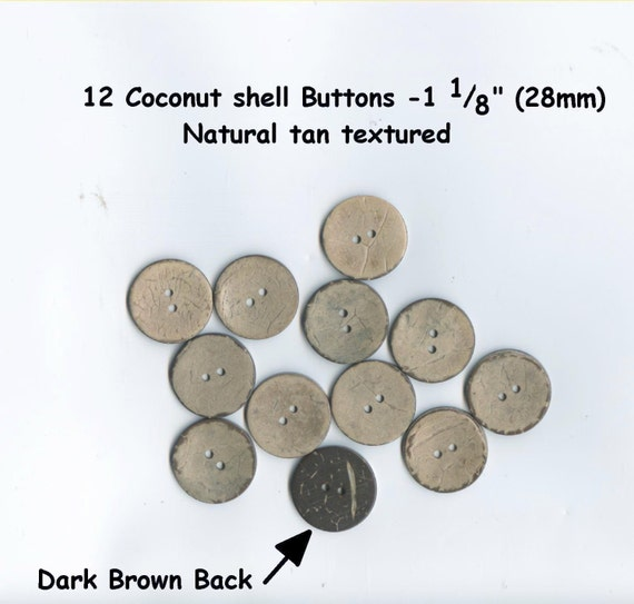 """very durable 10 Natural Coconut Shell Buttons 3//4/"""" 2 hole brown tan 18mm"""