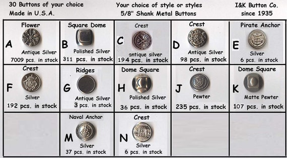 "choice of 22 styles 30 Metal 3//4/"" Buttons 2 or 4 hole Gold Silver Antique 19mm"