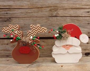 Christmas Decor- Santa Decor- Rudolph Decor- Reindeer Decor- Santa and Rudolph set of 2